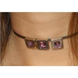 Silver and amethyst necklace Carre cut  #2380484
