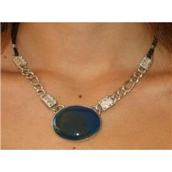 Silver  Blue Agathe Cabouchon Necklace #2380485