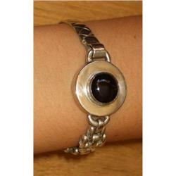 Silver and black agathe bracelet  #2380486