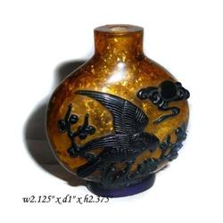 YellowBase BlueOverlay Peking Glass Snuffbottle#2380494