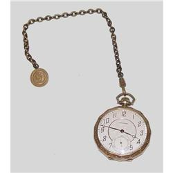 19 Jewel Waltham Pocket Watch Fob Chain Gold pl#2380500