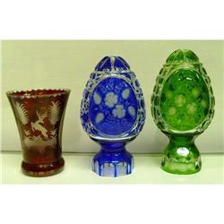 Ruby Cobalt Blue Green Cut Clear Etched Glass #2380506