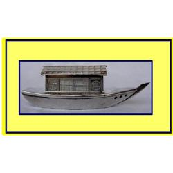 MINIATURE S SILVER BARGE / HOUSEBOAT /GONDOLA #2380516