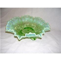 Beaded Fleur De Lis Green Opal Footed Bowl #2380521