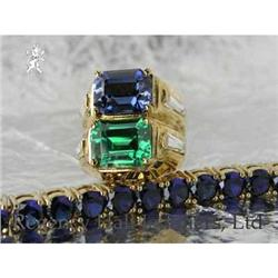 RHJ Ring Synthetic Sapphire & Simulated Emerald#2364459