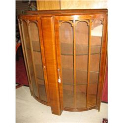 English Walnut Bow Front Curio  Early 1900's #2364463