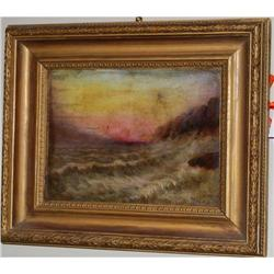 Antique Oil on Board Seascape, C. 1920 Signed #2378511