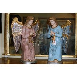 Pair of Italian Carved Gessoed & Painted Angels#2378521