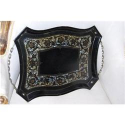 Antique Art Nouveau Deco Toleware Serving Tray #2378522