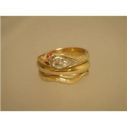 Ring  Vintage  Snake  18ct.  Diamond  Ruby  #2378534