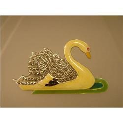 Brooch  Swan  Sterling  Marcasite and Enamel #2378536