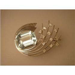 Brooch 14ct white gold Aquamarine & Diamond #2378540