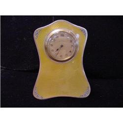 English Guilloche Enamel Sterling Clock #2378545