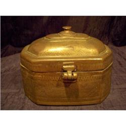 Antique Cast Brass Heavily Engraved Pan Box #2378737