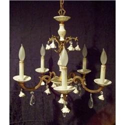 Floral Capodimonte Porcelain Brass Chandelier #2378738