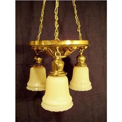 Antique Chandelier Fixture Custard Glass Shades#2378740