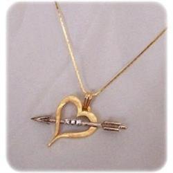 14k & Platinum Open Heart w/Arrow, Diamonds #2378752