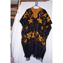 Antique  Embroidered Mexican Poncho #2378754