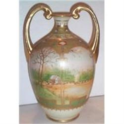 Hand Painted Nippon Scenic Handled Vase #2379154