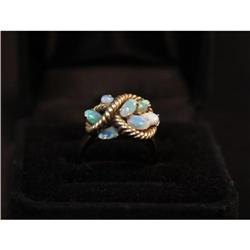 14K Yellow Gold and Opal Dinner Ring #2379156