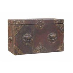Rare Vintage Chinese Double FuDog Heads Trunk  #2379474