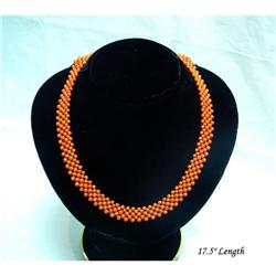 Natural Coral Beads Net Maze Pattern Necklace  #2379475