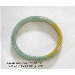 Chinese Natural Green Yellow Jade Oval Bracelet#2379476