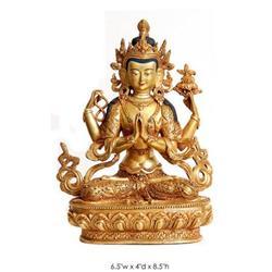 Sadaksari Avalokitesvara Tibetan Brass Figure #2379478