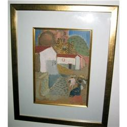 Mexican Village with people Signed  #2379484