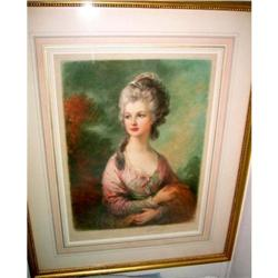Victorian Print  made 1830 colored , signed #2379485