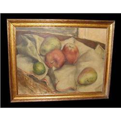 Fruit Still Life Oil Painting Apple Pear Lime  #2379499