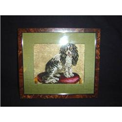 Antique Needlepoint of  a King Charles Spaniel #2379516