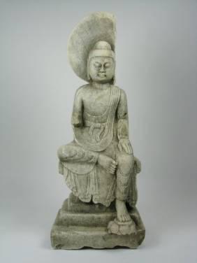 A SPLENDID TANG DYNASTY MARBLE BUDDHA, c.1618