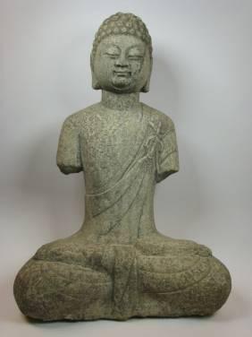A SUPERB TANG DYNASTY SCULPTURE OF BUDDHA, c.