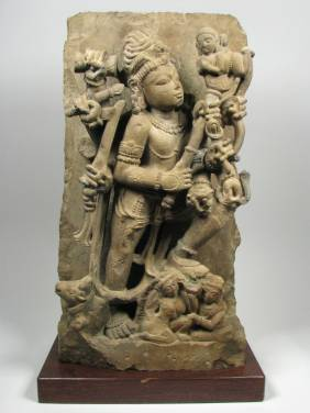 AN EXCEPTIONAL INDIAN SANDSTONE SCULPTURE OF