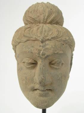 A FINE GANDHARAN SCHIST HEAD BUDDHA, 2nd-3rd