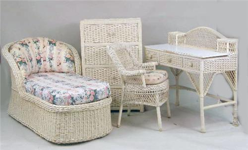 an assembled group of ivory-painted wicker girl`s bedroom ...
