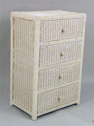 An Assembled Group Of Ivory Painted Wicker Girl S Bedroom Furniture
