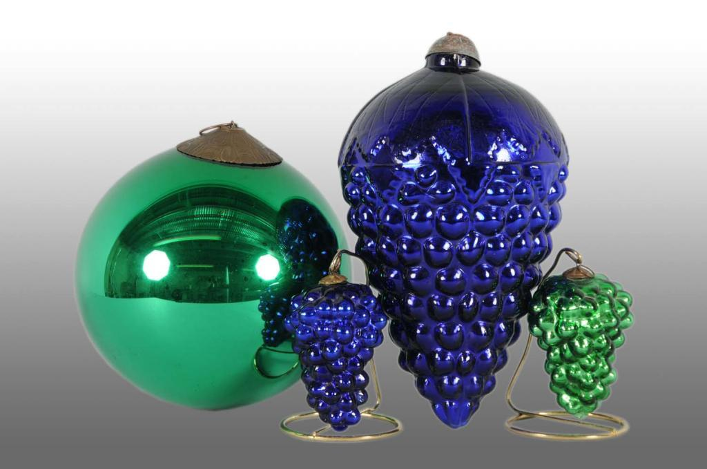 Lot Of 4 Glass Kugel Christmas Ornaments