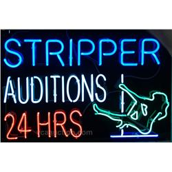 Stripper Audition 24 Hrs. Blinking Neon Sign