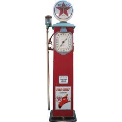 Texaco Gas Pump Art Deco Style w/ Clock Face Dial w/ Em