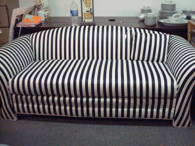 Black and White Striped, Upholstered Sofa: