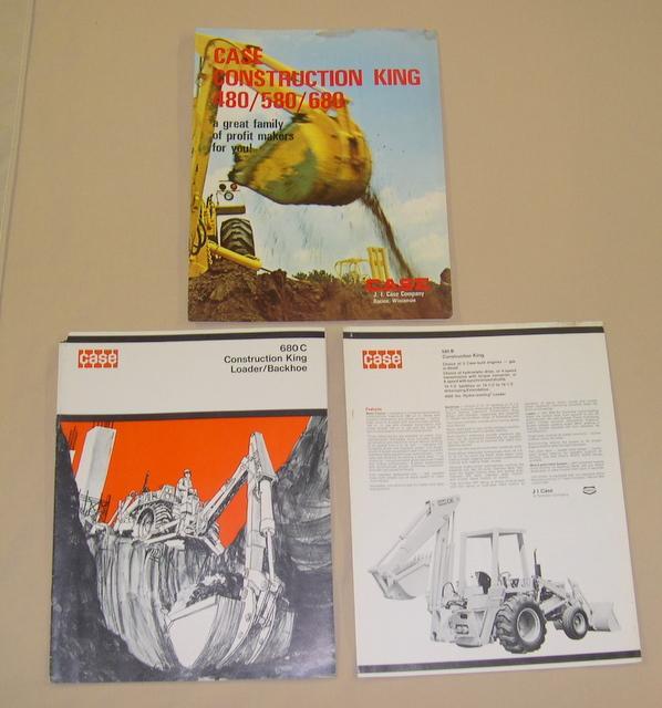 (3) Case Construction King Loader Backhoe Brochures