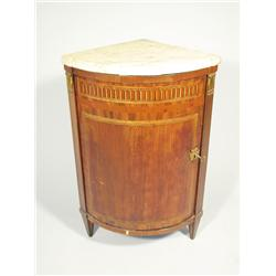 A Louis XVI style marble-top and marquetry mahogany and bron