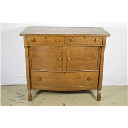 An American oak chest of drawers.