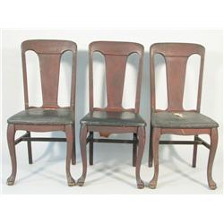 A set of three American Empire style stained mahogany side c