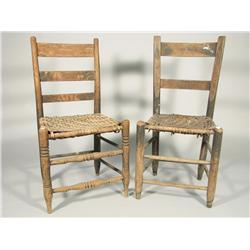 Two early 19th Century American ladderback side chairs with