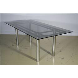 A chrome and glass Andre Table by Scarpa for Knoll,