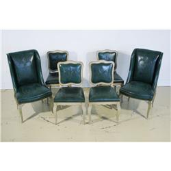 A set of six embossed green leather dining chairs by Grosfel