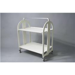 A Guzzini collapsible plastic two tier cart,
